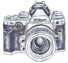 An ink drawing of an old Nikon camera © 2014 Angie Green
