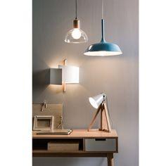 Lámpara de techo de vidrio y madera Lizia