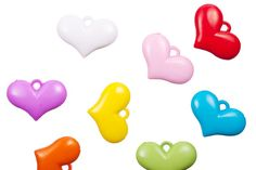 Wide heart mix color opaque acrylic charms 29x20mm at $1.54/100G/46pcs, shop plastic beads at Beadingsupplys.com