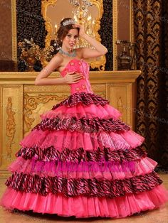 Beautiful Strapless Organza Hot Pink Dress for Quinceaneras with Ruffled Layers