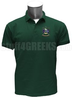 Forest green Kappa Upsilon Chi polo shirt with the crest on the left breast.