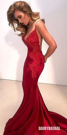 Spaghetti Straps Mermaid Applique Backless Red Prom Dresses d23090853f47