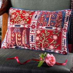 Oxiana - Ehrman Tapestry, 'Oxiana': ethereal and mysterious, a needlepoint kit I nspired by Bukhara carpets. Cross Stitch Pillow, Cross Stitch Embroidery, Felt Embroidery, Tapestry Kits, Wall Tapestry, Bed Pillows, Cushions, Star Rug, Needlepoint Kits