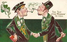 Patrick's Day postcards often portrayed the worst of Irish stereotypes. In this example, the brick and club held by each caricature is a reference to a supposedly violent nature of Irish men. The postcard is from around St Patrick's Day, Leprechaun Movie, St Patricks Day Cards, Saint Patricks, Peace Pipe, Erin Go Bragh, Irish Eyes Are Smiling, Irish Blessing, Irish Men