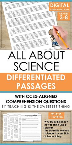 Differentiating instruction, integrating science into reading, AND addressing standards like Common Core is daunting. But this passage set knocks out all three at once! Plus it includes comprehension questions and could easily go with other activities or Science Resources, Science Lessons, Science Education, Teaching Science, Science Activities, Life Science, Science Ideas, Science Centers, Science Curriculum