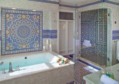 Moroccan tile bath designed by Kyle T. Blood is Bath of the Month in House Beautiful March 2013. Gorgeous inspiration!