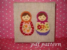 Babushka doll cross stitch tapestry pdf pattern #2