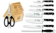 "Messermeister Meridian Elite 9-Piece Knife Block Set by Messermeister. Save 32 Off!. $479.95. One-piece, fully forged. Hand-polished ""Elite"" edge. Handcrafted in Solingen, Germany. Bolsterless edge and polished spine. Set includes: 8 -Inch Chef's Knife, 7-Inch Kullenschliff Santoku, 9-Inch Bread Knife, 6-Inch Utility, 5-Inch Scalloped Utility, 3-1/2-Inch Paring Knife, 10-Inch Fine Steel, 8-1/2-Inch Take-Apart Kitchen Scissors, 16 Slot Wood Block"