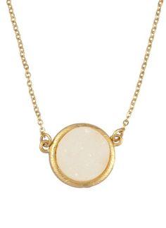 Circle Druzy Pendant White at Prima donna