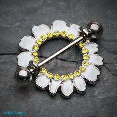 A Pair of Adorable White Daisy Nipple Shield Ring - Piercings Piercing Ring, Body Piercings, Nipple Rings, Beaded Earrings, Body Jewelry, Body Art, Jewelery, Etsy, Irezumi Tattoos