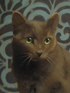 Such simplicity of color. This gray cat with green eyes against a gray and green background has such realism that you can almost feel the thickness of his fur and picture his next move. Love it!