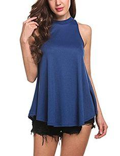 Zeagoo Women's Sexy Summer Casual Vest Tank Tops (Medium, Blue) at Amazon Women's Clothing store: