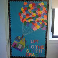 UP! Themed bulletin board for a sixth grade classroom.