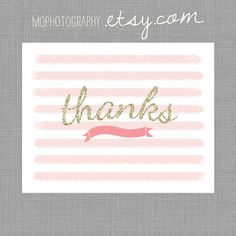 Pink and Gold Glitter - Girl THANK YOU, Gracias, Merci - Digital file for at home printing. $10.00, via Etsy.