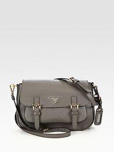 Holiday Gift Guide: Prada Saffiano Lux Messenger Bag for Her _ Saks.com