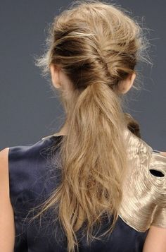 Pony tail: Twist your hair into a French roll, then secure it at the nape of your neck with a few bobby pins  Read More http://www.glamour.com/beauty/blogs/girls-in-the-beauty-department/2012/08/4-simple-ways-to-tweak-your-po.html#ixzz24lq1RXXJ