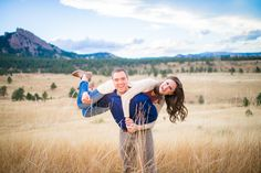 NCAR Fall Engagement Session Picking Up Girlfriend on Back