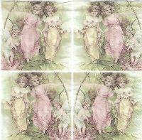 4 papel de Almuerzo Servilletas Para Decoupage Conejos Conejitos Vintage Mesa De Fiesta