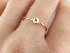 Skinny All Gold Initial Stacking RingPersonalized Bee Jewelry, Metal Jewelry, Custom Jewelry, Gold Jewelry, Jewelry Rings, Jewellery, Handmade Sterling Silver, Sterling Silver Jewelry, Use E Abuse