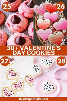 Not only are these Valentine's day cookies delicious and festive, they are the perfect dessert to bring to a Valentine's Day party, or gift to loved ones! Cream Cheese Sugar Cookies, Vanilla Cream Cheese Frosting, Peanut Butter Blossom Cookies, Sugar Cookies Recipe, Yummy Cookies, Valentines Day Desserts, Valentine Cookies, Valentines Baking, Chocolate Chunk Cookies