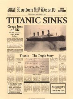london herald paper report on the titanic