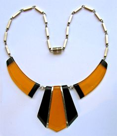 ART DECO Jakob Bengel Chrome & Galalith Necklace