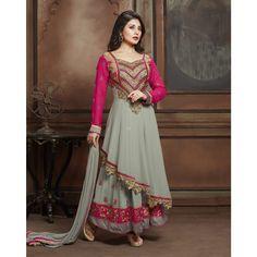 Rimi Sen Grey and Pink Georgette #Anarkali Suits- $43.46