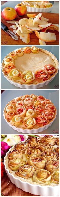 DIY Flower Apple Pie, gorgeous! #fallbaking #thanksgiving #ThanksgivingDessert #ApplePie