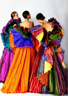 "Roberto Capucci gowns i would like to see this done but on a ""neutral"" background color World Of Color, Color Of Life, All The Colors, Vibrant Colors, Happy Colors, True Colors, Fashion Fotografie, Over The Rainbow, Fashion Plates"