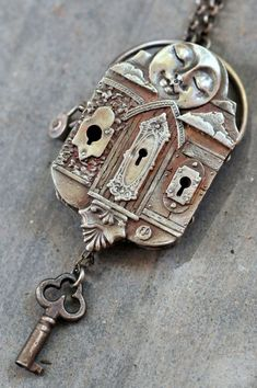 The Journey of Life Locket is an award winning design by Christi Anderson. It took home Bead Dreams 1st Place The locket has a specific narrative... The side with the sun features three keyhole escutcheon faces to choose from. But life isnt fair, you only get one key (hanging from the bottom) and it doesnt fit any of the holes. (code: you will have to pick the lock) On the opposite side is a door to heaven, but what lays behind it is a secret. The door really opens, but to see behind it you…