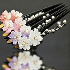 Material: Acrylic. Weight: 20g. I'm sure everything could be solved by communication. depends on weather,flights and your location etc. Hair Sticks, Hanfu, Cherry Blossom, Hair Pins, Hair Accessories, Traditional Japanese, Pearls, Communication, Weather