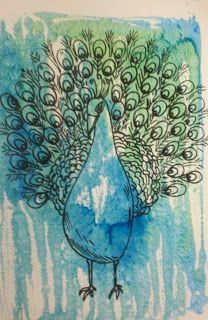 Line and water color—was thinking about doing this with 5th graders, but looks like I was beat to it!