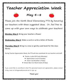 teacher appreciation week letter | Sample Teacher ...