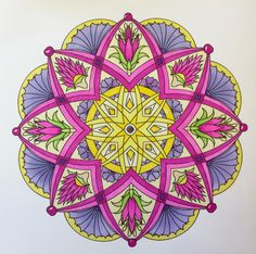 """A mandala from Cynthia Emerlye's """"Flower Mandalas to Color for Calm"""" (2015). Colored by B. Holmes using Prismacolor Premier Dual Tip Brush Markers, 7-2017. #mandala #emerlye #cynthiaemerlye #adultcoloring"""