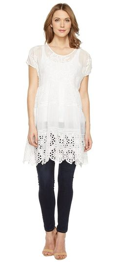 Johnny Was Arva Tiered Tunic (White) Women's Blouse - Johnny Was, Arva Tiered Tunic, C89652-1, Apparel Top Blouse, Blouse, Top, Apparel, Clothes Clothing, Gift, - Fashion Ideas To Inspire