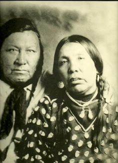 Native American Encyclopedia .  Fire Bear and his wife - Crow - circa 1895