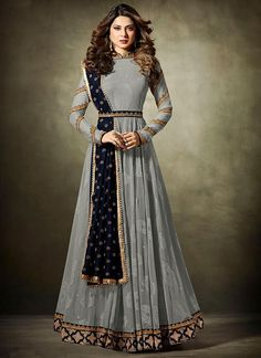 VJV Fashions presenting Jennifer Winget Grey Velvet Designer Anarkali Suit shop from our biggest collection of designer salwar suit, party wear salwar suit Indian Gowns, Indian Attire, Pakistani Dresses, Indian Wear, Indian Outfits, Abaya Fashion, Indian Fashion, Fashion Dresses, Emo Fashion
