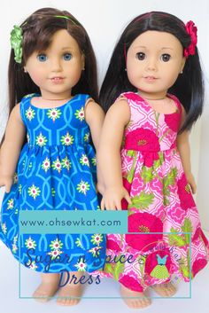 Hawaiian Dress Tutorial for dolls by ohsewkat. Easy sewing patterns, make your own 18 inch doll clothes for Amerian Girl style dolls. #ohsewkat #naneamitchell #muumuu #dollclothes