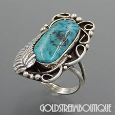 Native American Vintage Signed Navajo Sterling Silver Oval Turquoise Feather Swirls Ring - Size 6.5