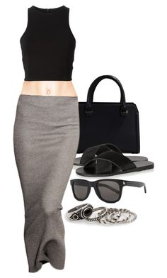 """""""Untitled #243"""" by sincerelyash ❤ liked on Polyvore featuring Victoria Beckham, T By Alexander Wang, Ancient Greek Sandals, Yves Saint Laurent and MANGO"""