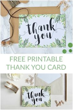 Grab a FREE printable thank you card - perfect for a botanical inspired wedding or just to say thanks to someone special! Prints postcard (A6) size. via @prettypaperblog
