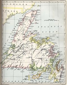 Map of Newfoundland 1884 Newfoundland Map, Newfoundland And Labrador, Canada Travel, Canada Trip, Seaside Decor, Framed Maps, Prince Edward Island, Australia Travel, Old Pictures