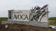 Avoca monument sign - One of our favorites Signage Board, Entrance Signage, Shop Signage, Exterior Signage, Wayfinding Signage, Signage Design, Monument Signage, Architectural Signage, Outdoor Signs