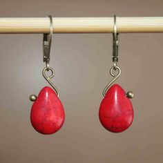 Red Earrings Drop Earrings Dangle earrings by NtikArtJewelry