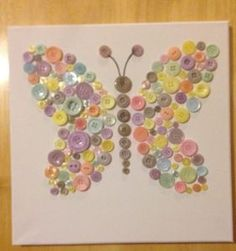 Mothers Day Crafts For Kids Sundayschool - - Thanksgiving Crafts For Kids Button Crafts For Kids, Crafts To Make, Diy Crafts, Button Art On Canvas, Buttons On Canvas, Bead Crafts, Arts And Crafts, Resin Crafts, Diy Y Manualidades