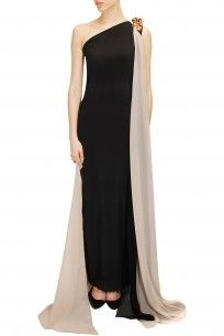 Black metal flowers embellished draped gown