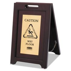 Rubbermaid Commercial Executive 2-Sided Multi-Lingual Caution Sign, Brown/Brass, 15 x 23 1/2, Gold