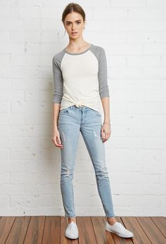 Low-Rise Distressed Skinny Jeans | Forever 21 - 2000083553