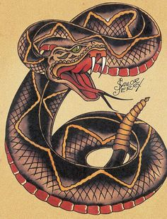 Sailor Jerry Snake Tattoo Flash | KYSA #ink #design #tattoo