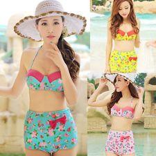 Cutest Vintage Women Rockabilly High Waist PinUp Bikini Set Swimsuit Swimwear